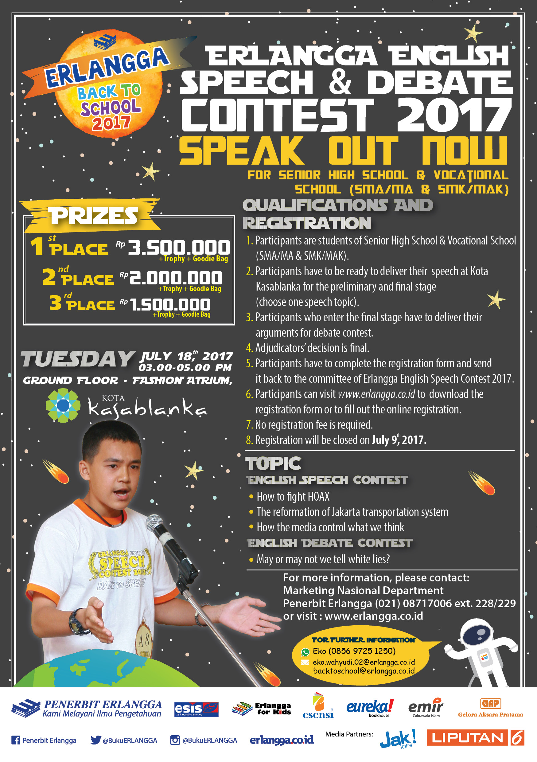 Erlangga English Speech & Debate Contest 2017  for Junior High School